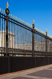 Part of old metallic fence with gold tips Royalty Free Stock Images