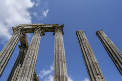 Part of a old monument / landmark in an European City in Portugal - Roman temple Stock Image