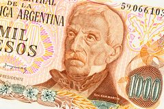 Part of old one thousand pesos Argentina banknote background. High resolution vintage photo of front side argentinian bill, close. Up macro royalty free stock image