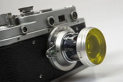 Part of old retro camera copy of leica Royalty Free Stock Photography
