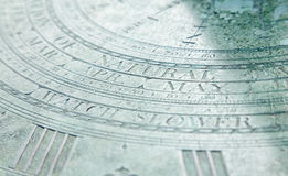 Part of an old sundial with word Stock Photo