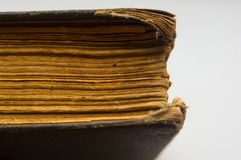 Part of the old tattered books with yellowed pages Royalty Free Stock Photo