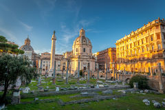 He part of old town and Roman ruins in Rome Stock Photo