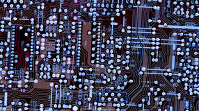 Part of old vintage printed circuit board. With electronic components Stock Image