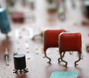 Part of old vintage printed circuit board. With electronic components Stock Photos