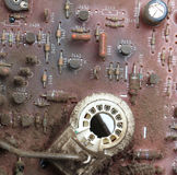 Part of old vintage printed circuit board. With electronic components Stock Photography