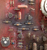 Part of old vintage printed circuit board. With electronic components Royalty Free Stock Photo