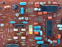 Part of old vintage printed circuit board. With electronic components Royalty Free Stock Image