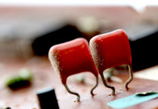 Part of old vintage printed circuit board. With electronic components Royalty Free Stock Photography