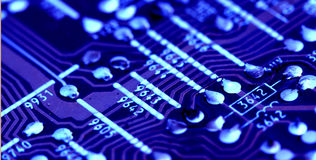 Part of old vintage printed circuit board Stock Photography