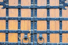 Part of the old wooden gates stock photo