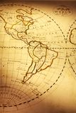Old World Map Showing The Americas. Part of old world map, showing Americas. Focus is on South America. Map is from 1811 and is out of copyright Royalty Free Stock Photo