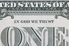 Part of one dollar note Royalty Free Stock Photography
