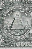 Part of one dollar note with great seal macro Royalty Free Stock Images