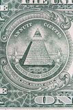Part of one dollar note with great seal super macro shot. Eye of Providence or all-seeing eye sign, detail in th banknote of one royalty free stock photos