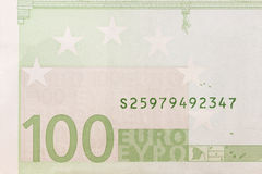 Part of the one  hundred euro banknote Royalty Free Stock Image