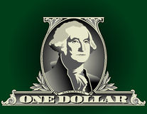 Part of one US dollar. An view of the image of George Washington and the words One Dollar that are part of a US one dollar bill