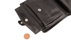 Part of open black wallet with coin Royalty Free Stock Photos