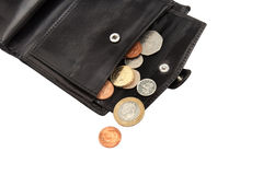 Part of open black wallet with coins Royalty Free Stock Images