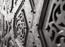 Part of the ornaments of the bronze-plate door of Sultan Qalawun mosque, al Moez street, Cairo, Egypt stock photo