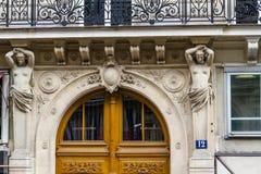 Part of ornate Parisian doorway. Stock Photos