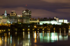 Part of the Ottawa Skyline at Night royalty free stock images
