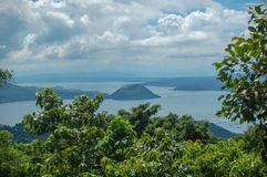 A view of the Taal Volcano in The Phiippines. Part of The Pacific Ring of Fire, the Taal Volcano is on the Filipino island of Luzon and is a popular location to Royalty Free Stock Photos