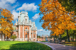 Part of the palace in Tsaritsyno. In Moscow on a bright sunny autumn day and a great golden tree Stock Photography