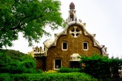 Part of Park Guell in Barcelona, Spain royalty free stock photo