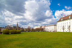 Part of the park near Hofburg, Vienna City Hall,  Wiener Rathaus, Austria Royalty Free Stock Photography