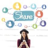 Part partageant le concept de mise en réseau de connexion Images stock