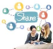Part partageant le concept de mise en réseau de connexion Image stock