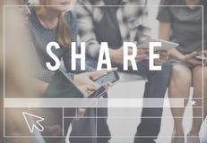 Part partageant le concept de réseau de connexion de communication Photo stock