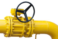 Part of pipe with valve stock photo