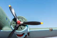 Part plane with the big propeller Royalty Free Stock Images