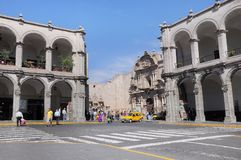 Part of the Plaza de Armas in Arequipa, Peru. Royalty Free Stock Images