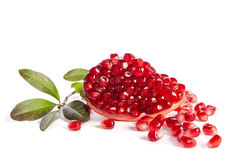 Part of a pomegranate with pomegranate seeds and leaves Stock Image