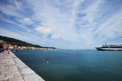 A part of the port and of the city of Zakinthos Stock Photo
