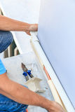 A part of preparing to install new air conditioner. Stock Images