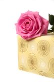 A part of present and a pink rose Royalty Free Stock Images
