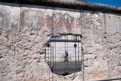 Part of preserved wall that separated east from west Berlin Royalty Free Stock Photography