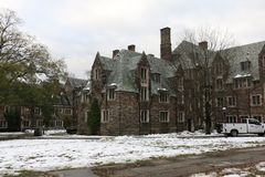 Part of Princeton University. In winter snow royalty free stock image