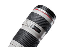 Part of professional camera lens isolated on white Stock Photography