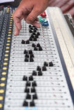 Part of a proffesionellen sound mixing console, hand controls th Stock Photography