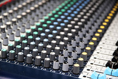 Part of a proffesionellen sound mixing console, music device for Royalty Free Stock Photography