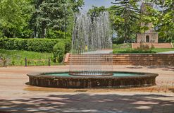 Part of public gardens - fountains and monument Royalty Free Stock Images