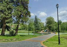 Part of public gardens - fountains and pond Stock Image