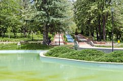 Part of public gardens - fountains and pond Royalty Free Stock Photography