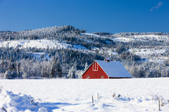 Part of red barn in winter. Stock Images