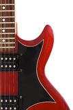 Part of red electric guitar isolated. On white Royalty Free Stock Image